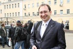 L'avocat des participants arrêtés de l'émeute Nikolay Polozov de chat Images stock