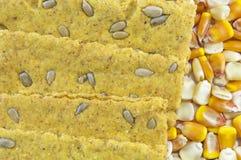 L'avoine croquante amincit avec le tournesol entouré par les grains secs de maïs Images libres de droits