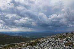 L'avvicinamento di temporale è caduto Pallastunturi Fotografia Stock