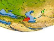 L'Azerbaïdjan en rouge sur le modèle de la terre Photos stock