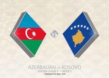 L'Azerbaigian contro il Kosovo, lega D, gruppo 3 Competi di calcio di Europa illustrazione vettoriale