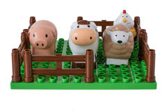 L'azienda agricola dei bambini con gli animali domestici Immagine Stock Libera da Diritti