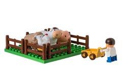 L'azienda agricola dei bambini con gli animali domestici Fotografia Stock Libera da Diritti