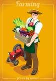 L'azienda agricola fornisce un servizio alla gente isometrica illustrazione di stock