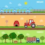 L'azienda agricola piana dell'insieme irriga il seme coltiva le insegne trattate di web del raccolto Fotografie Stock