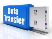 L'azionamento della penna del trasferimento di dati mostra il trasferimento di file o Fotografia Stock Libera da Diritti