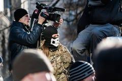 L'azione di protesta in Kyiv centrale Fotografia Stock Libera da Diritti
