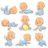 L'azione, l'età, arte, palla, la nascita, bottiglia, carta, cura, fumetto, carattere, bambino, variopinto, movimento strisciante, Immagine Stock
