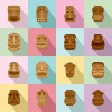L'Aztèque Hawaï d'idole de Tiki font face à des icônes réglées, style plat Photographie stock
