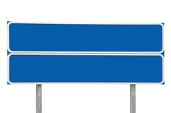 L'azzurro della freccia del segnale stradale delle strade trasversali due ha isolato Fotografia Stock Libera da Diritti
