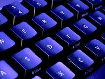 L'azzurro modifica il primo piano la tonalità della tastiera Fotografie Stock Libere da Diritti