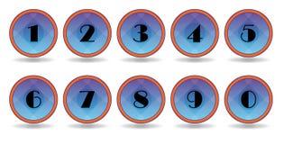 L'azzurro numera le icone Immagini Stock Libere da Diritti