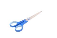 L'azzurro piacevole scissors il isolatad su bianco Immagini Stock