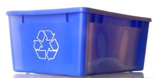 L'azzurro ricicla lo scomparto Fotografie Stock Libere da Diritti