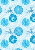 L'azzurro tirato fiorisce Pattern_eps senza giunte royalty illustrazione gratis