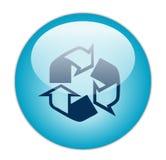 L'azzurro vetroso ricicla il profilo un'icona del materiale di riempimento Fotografie Stock