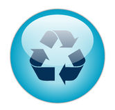 L'azzurro vetroso ricicla l'icona scura del materiale di riempimento Fotografia Stock