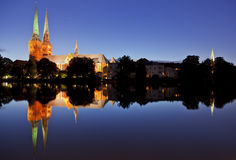 Lübeck Cathedral at night Stock Photography