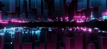 L bleu et pourpre d'imagination futuriste moderne foncée abstraite de Sci fi illustration libre de droits
