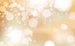 L'or Bokeh, festival de célébration d'hiver avec des étoiles dispersent le concept brillant léger, confettis de flocons de neige  illustration libre de droits