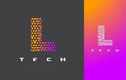 L bokstav Logo Technology FörbindelseDots Letter Design Vector Royaltyfria Foton