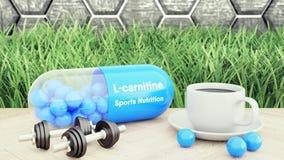 L-carnitine kapsel, stort piller, två hantlar och en kopp kaffe Sportnäring för illustration för bodybuilding 3d arkivbild
