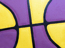 L.a. colors. Close up of a basketball in purple and yellow Stock Photos