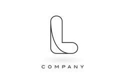 L contorno del profilo di Logo With Thin Black Monogram della lettera del monogramma Fotografia Stock