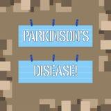 L'?criture conceptuelle de main montrant Parkinson s est la maladie D?sordre de syst?me nerveux des textes de photo d'affaires qu illustration libre de droits