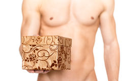 L'or a décoré le boîte-cadeau  photographie stock