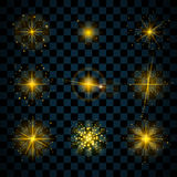 L'or d'éclat tient le premier rôle des étincelles de scintillements illustration de vecteur