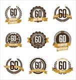 L'or d'anniversaire Badges la soixantième célébration d'années Photo stock
