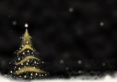 L'or d'arbre de Noël a formé de l'illustration de fond de Noël de neige des textes de noir de fond d'étoiles Photo libre de droits
