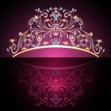 L'or des femmes de diadème de couronne avec les pierres précieuses Photographie stock