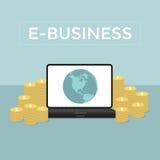 L'e-business fa i soldi dal computer e da Internet Fotografie Stock Libere da Diritti