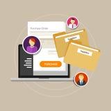 L'e-fourniture en ligne de fourniture obtiennent l'ordinateur portable d'Internet Images libres de droits