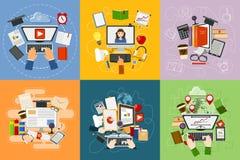 L'e-learning piano di servizi del cellulare di web di progettazione di istruzione di studio online di concetto impara il vettore  illustrazione di stock