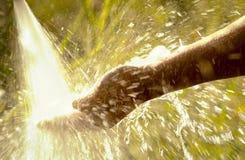 L'eau éclaboussant en main de la lumière du soleil Images libres de droits