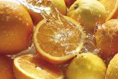 L'eau éclaboussant sur des oranges et des citrons Image stock