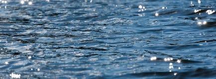 L'eau avec le fond de bokeh Surface de l'eau avec des vagues scintillant au soleil Bannière pour le site Web photos stock