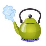 L'eau bouillante dans la bouilloire en aluminium sur le gaz flambent l'illustration réaliste de vecteur Images stock