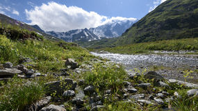 L'eau clair comme de l'eau de roche de la rivière en gorge de montagne Images libres de droits