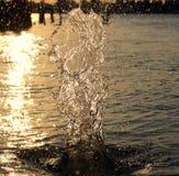 L'eau d'éclaboussure éclairée à contre-jour Photo libre de droits