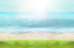 L'eau 3d d'océan de plage d'herbe verte d'heure d'été rendent Photographie stock libre de droits
