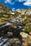 L'eau d'espace libre de Cristal dans le courant de Pyrénées Photo stock