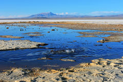 L'eau de bouillonnement à Salar de Uyuni Image stock
