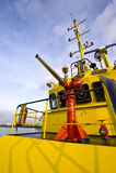 l'eau de canon d'incendie de bateau Photographie stock