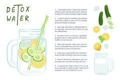 L'eau de Detox avec des fruits Images libres de droits