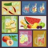 L'eau de Detox avec des fruits Photos stock