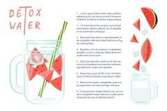 L'eau de Detox avec la pastèque Images stock
